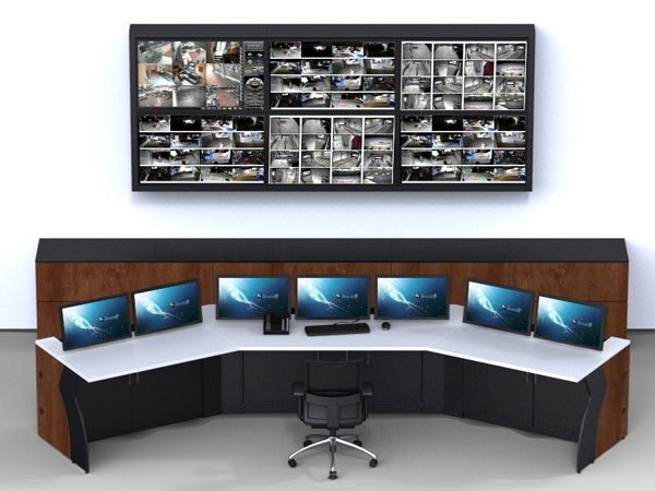 Low profile console with Video Wall